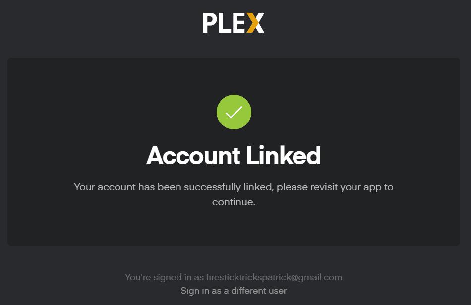 Plex Account Linked
