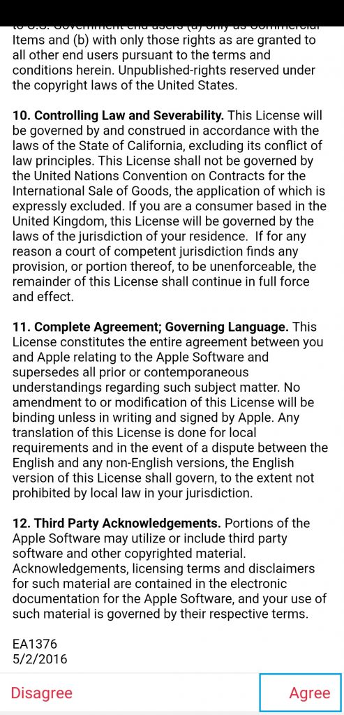 Agree with Terms and Conditions
