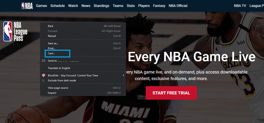 Chromecast NBA from Computer