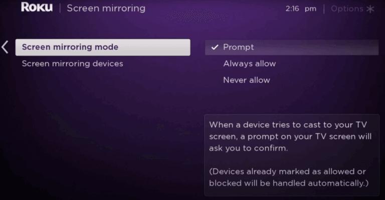 Enable Screen Mirroring on Roku