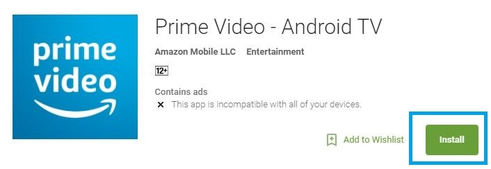 Install Amazon Prime Video on Android TV
