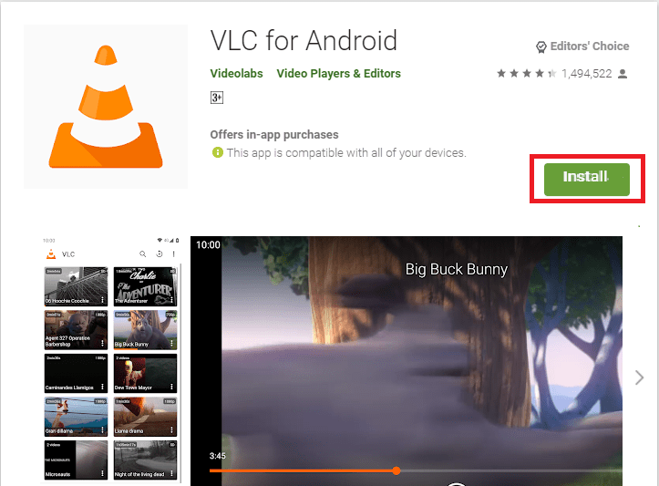 Install VLC Media Player from Play Store on Chromebook