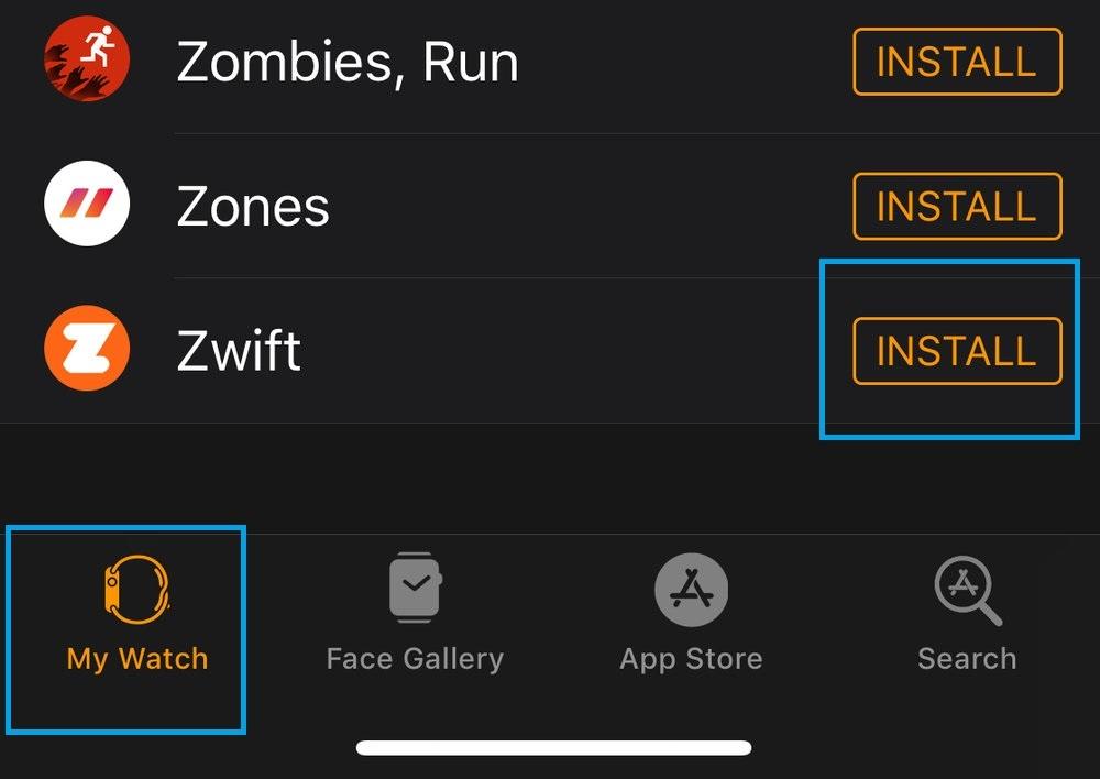 Install Zwift on Apple Watch