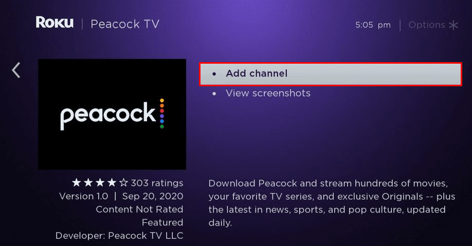 Click Add Channel to install Peacock TV