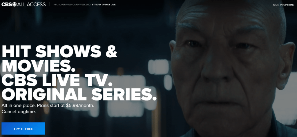 CBS All Access site - Super Bowl on Chromecast