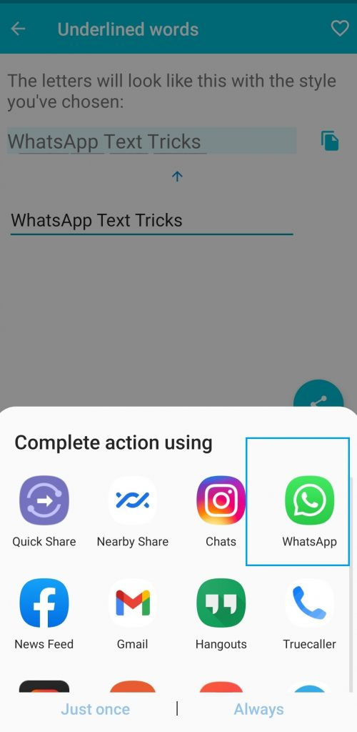Select WhatsApp to share underlined text
