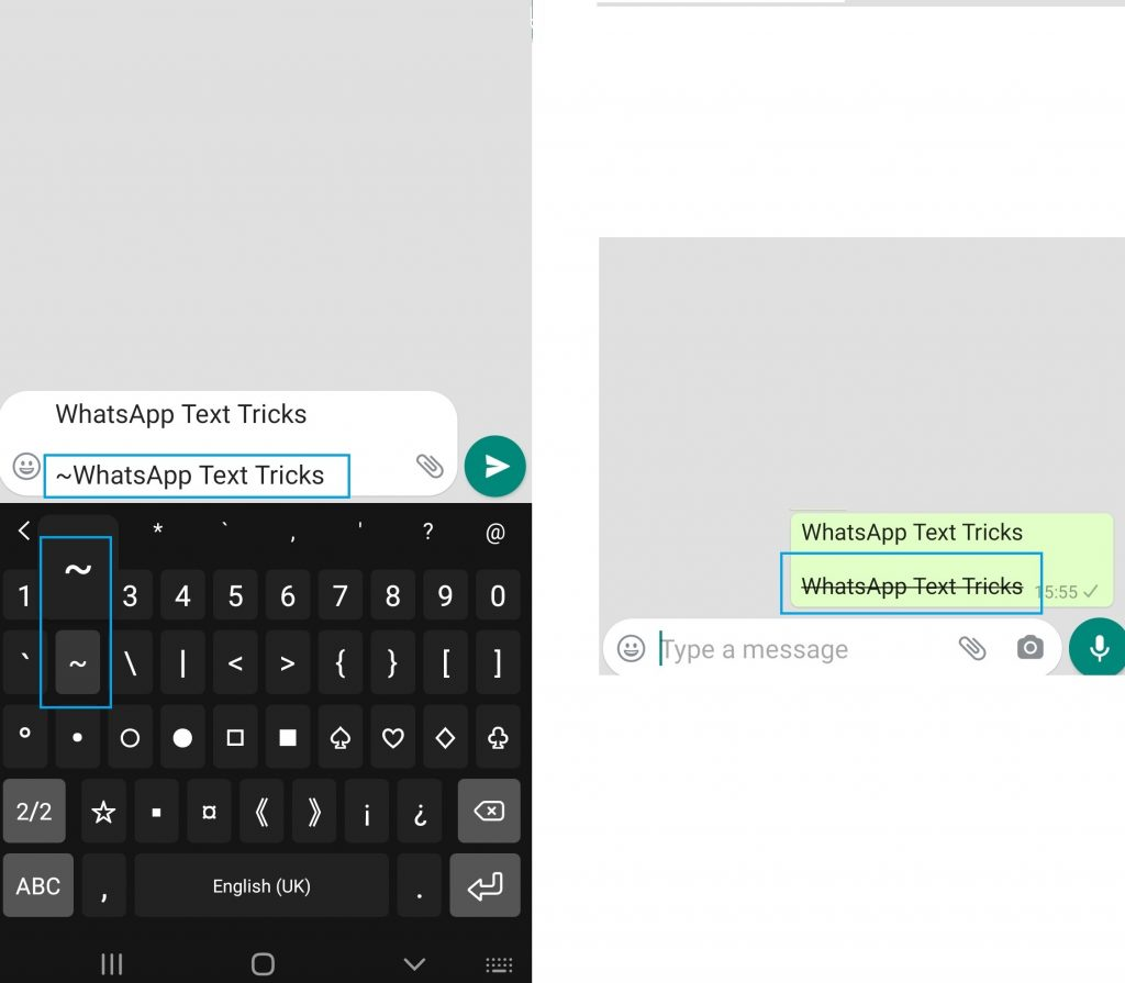 WhatsApp Tricks to make text with Strikethrough