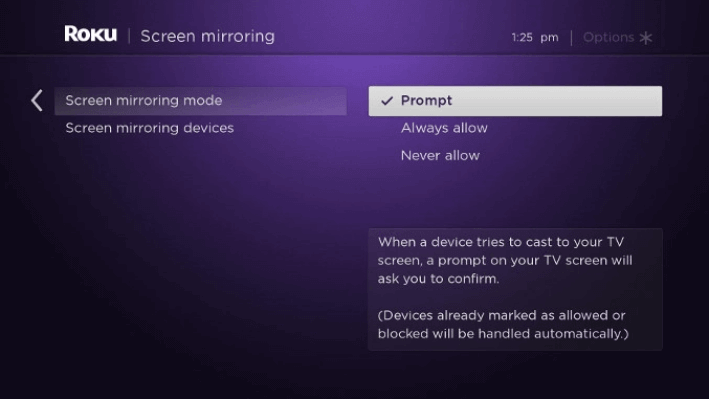 Select Prompt to enable screen mirroring