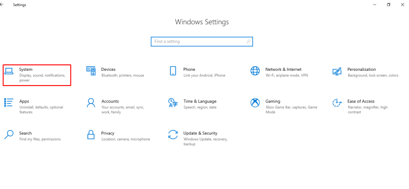 Select System in the settings