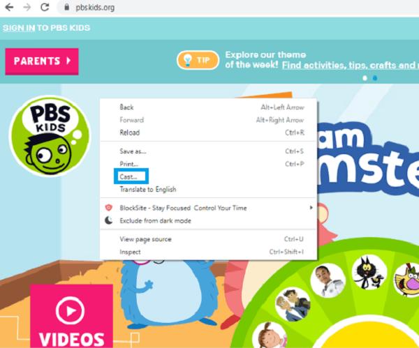 Chromecast PBS Kids from laptop