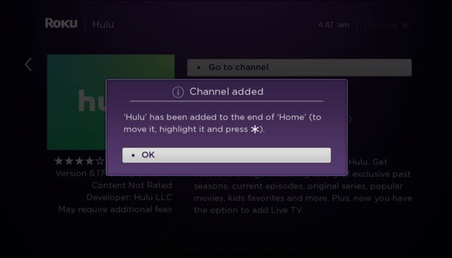 Click OK to finish Hulu on Roku installation