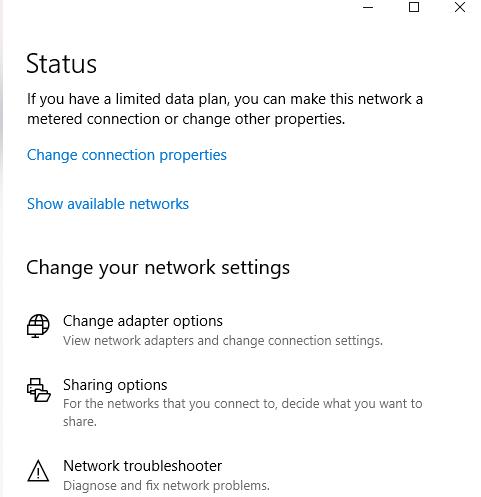Change Adapter Settings Windows