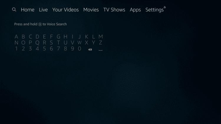 Firestick search menu