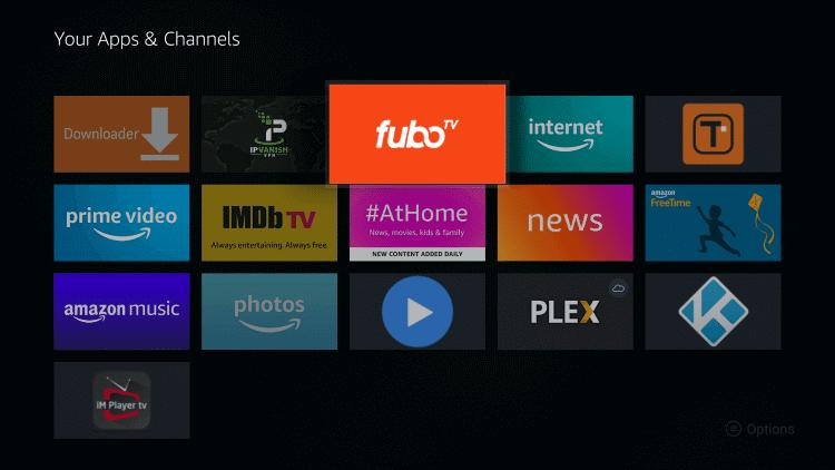 Launch fuboTV on Firestick
