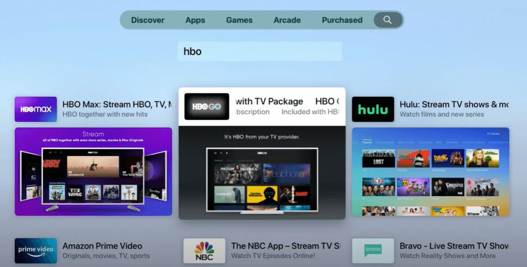 Search for HBO Max