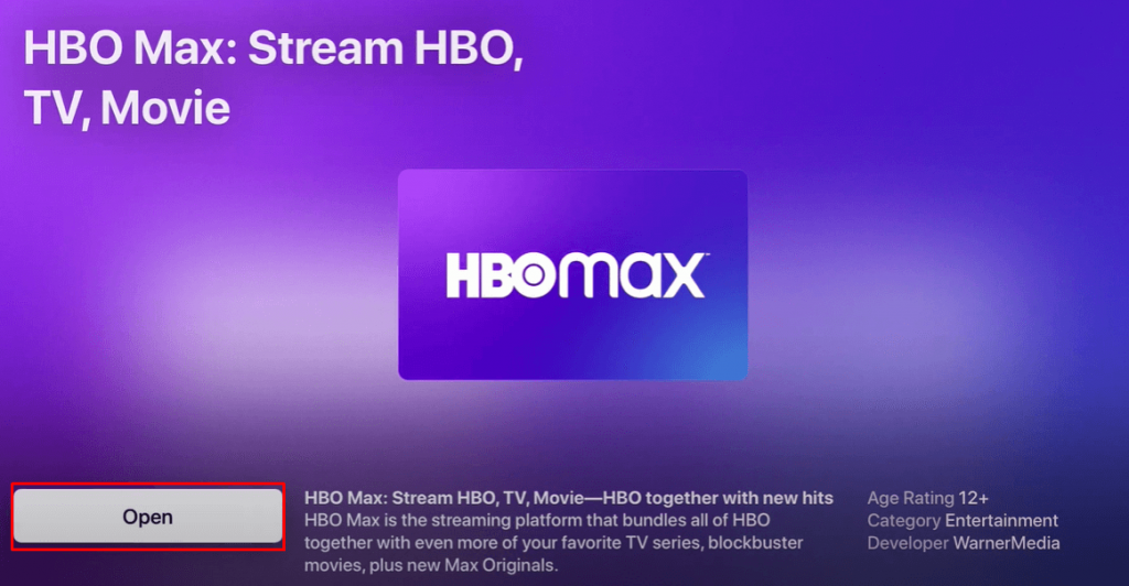 Open HBO Max on Apple TV