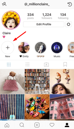 Select New to add Highlights on Instagram