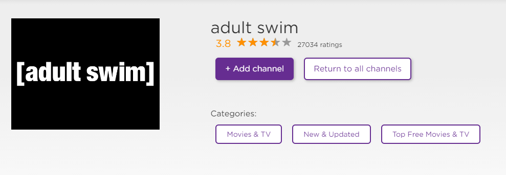 Install Adult Swim on Roku