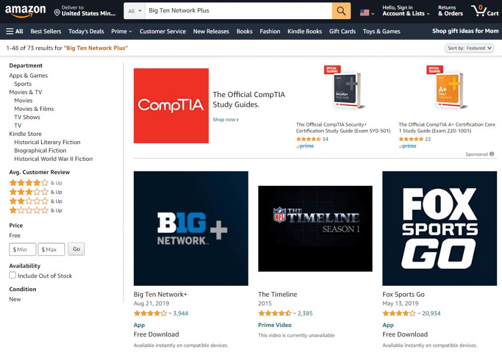 Choose Big Ten Network on Firestick