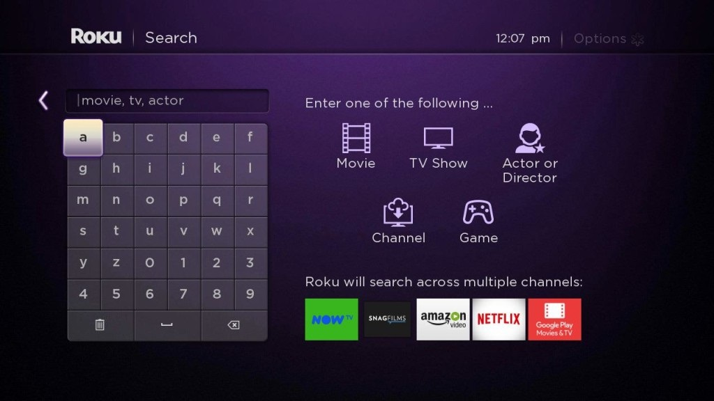 Roku Search Screen