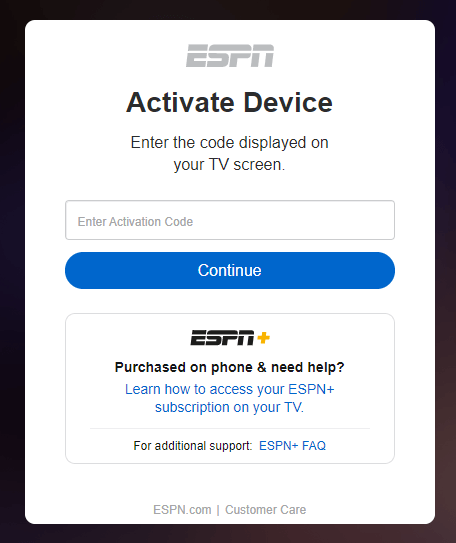 Enter the Activation code - F1 on Firestick