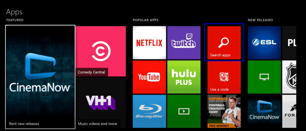 Funimation on Xbox- click search apps