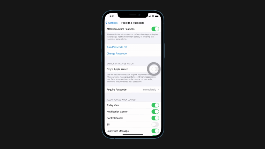 enable unlock with apple watch