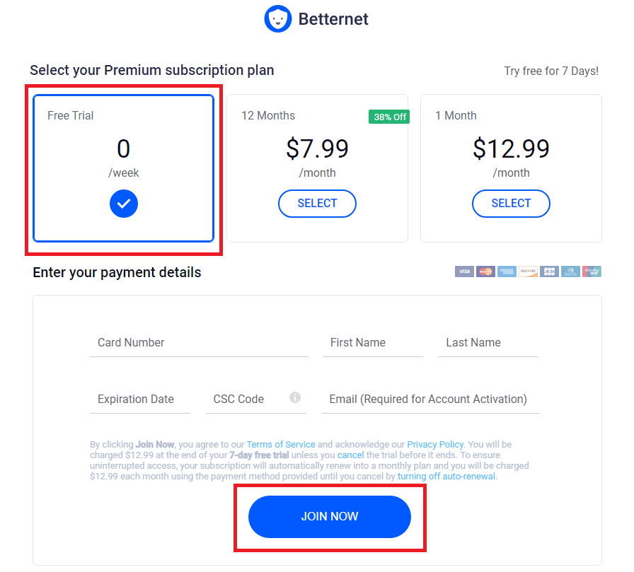 betternet vpn subscription packs