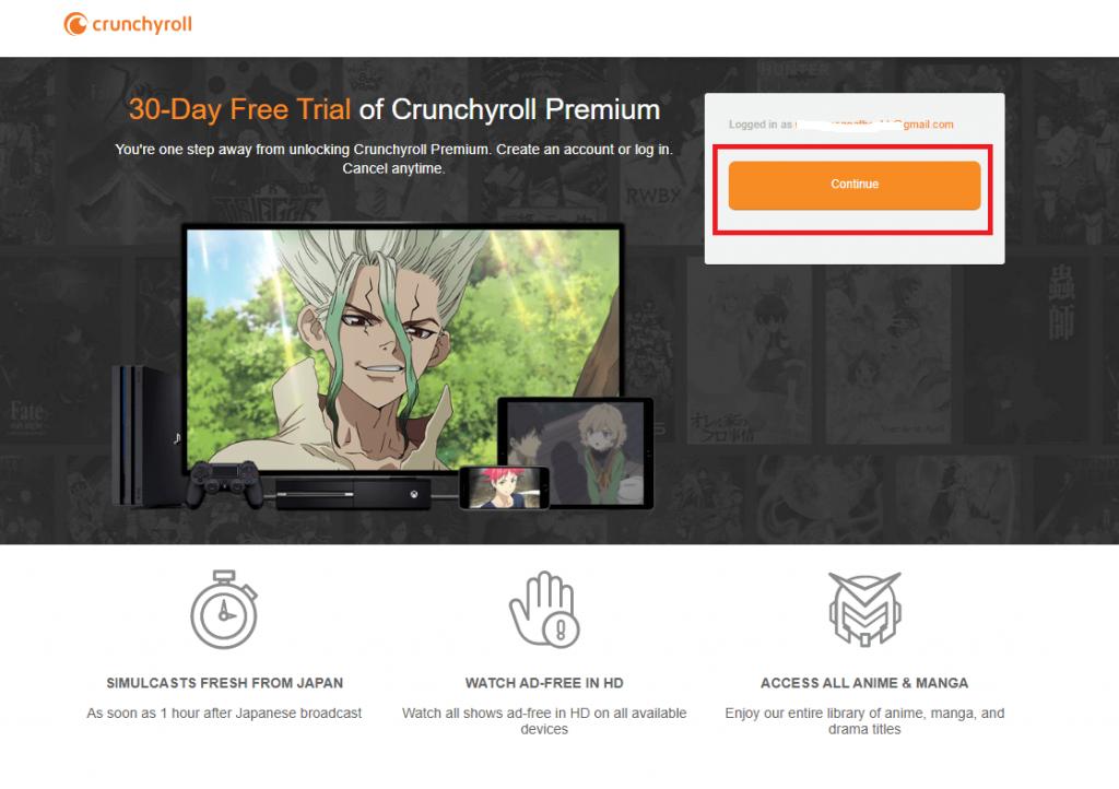 click continue button on crunchyroll website