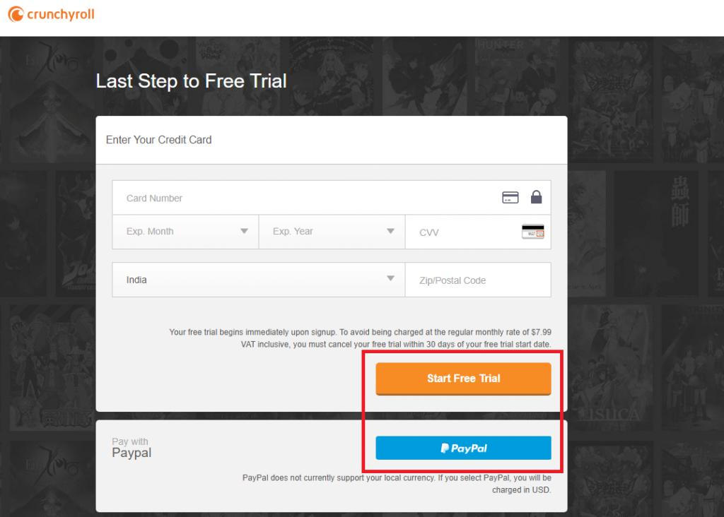 Click start free trial