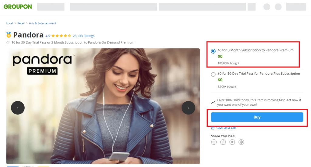 90 days trial - How to get Pandora Premium for Free