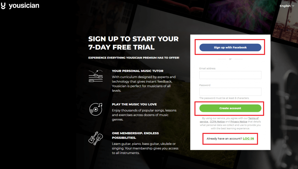 sign up - yousician