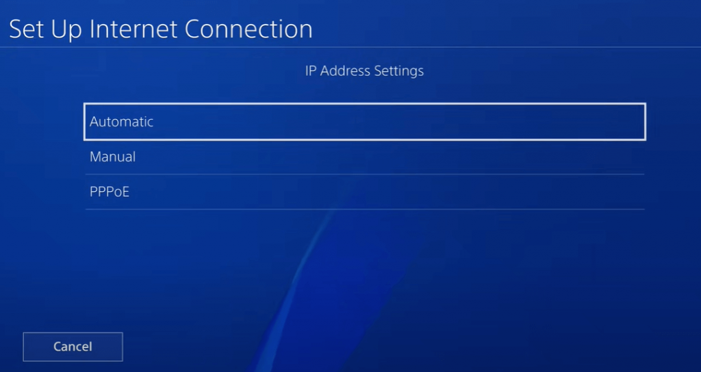 Choose Automatic in IP address settings