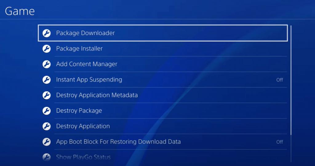 Select Package Installer - Jailbreak PS4