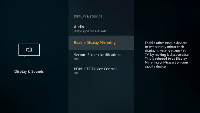 Click Enable Display Mirroring