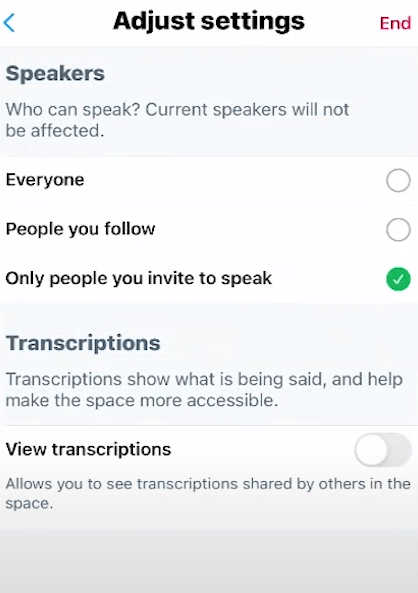 Choose the Settings for the Twitter Spaces