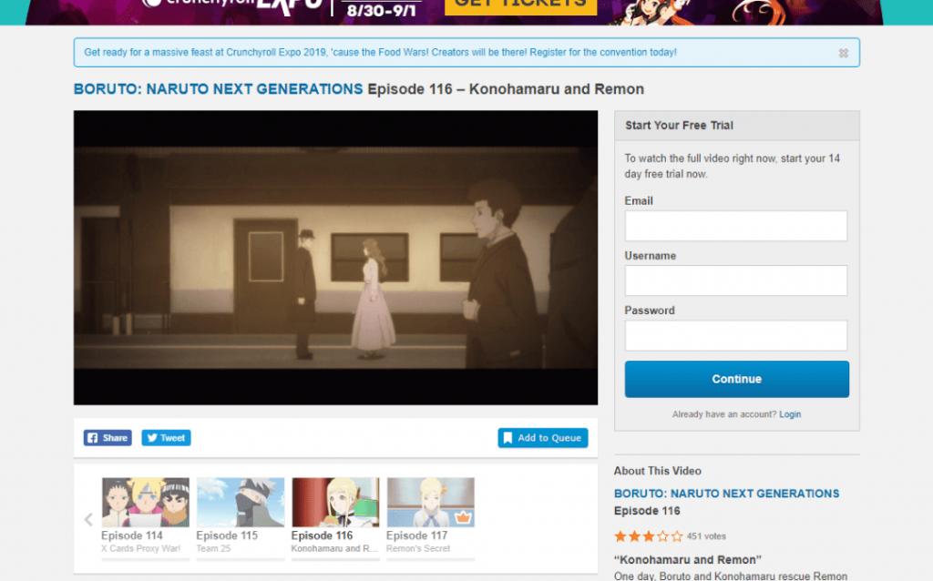 Crunchyroll web version