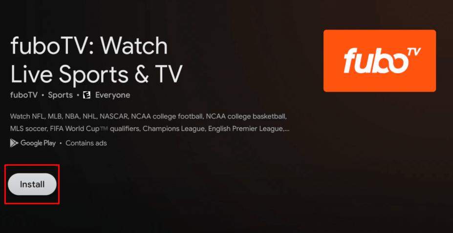 Install fuboTV on Google TV