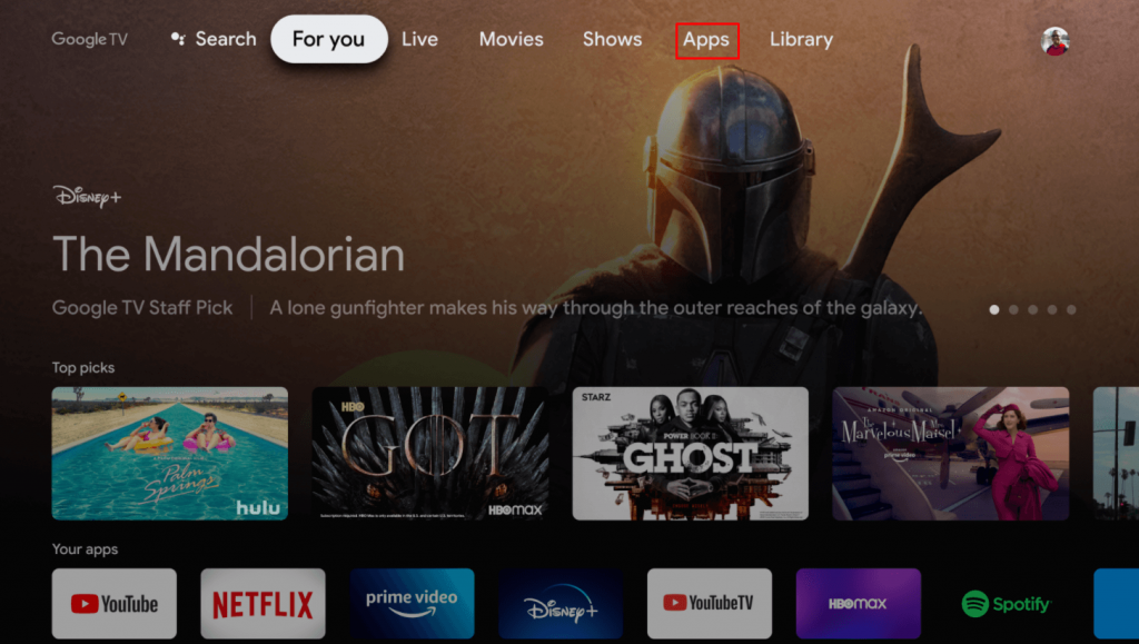 select Apps on Google TV