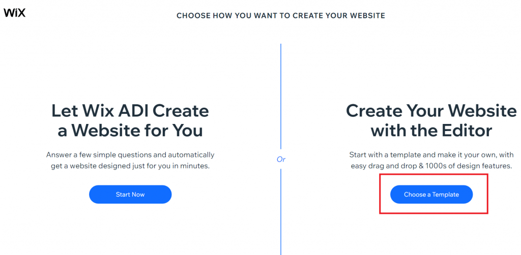 choose a template - Wix Premium for Free