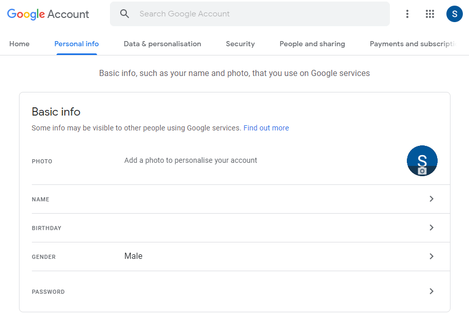 select Personal info - Change age on Gmail