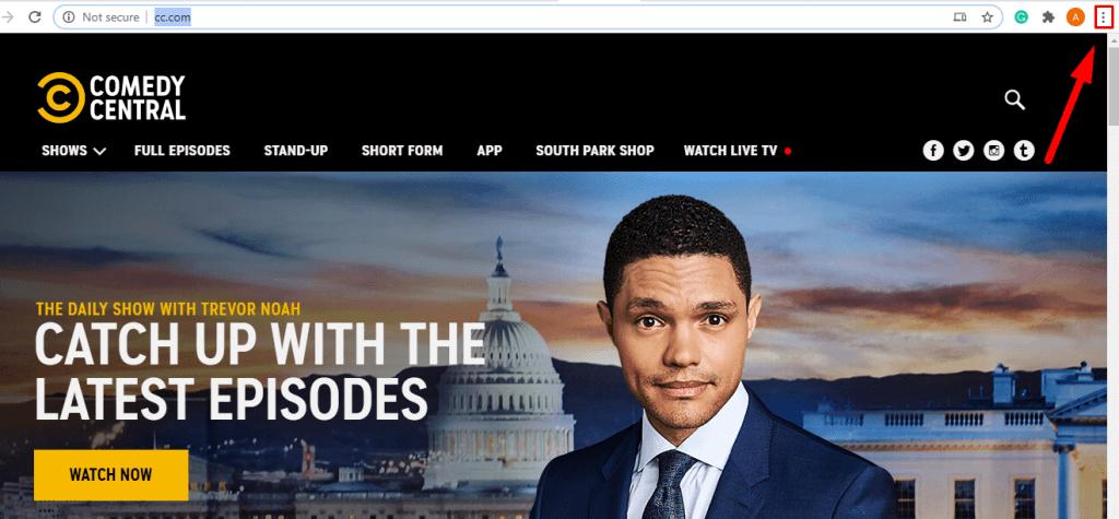 Chromecast Comedy Central- click menu icon