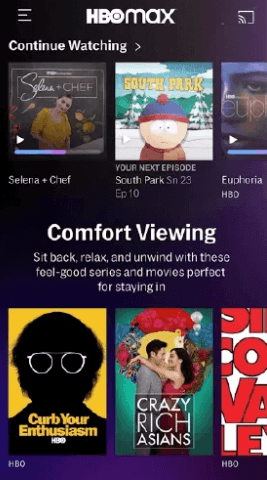 click Cast icon on HBO Max app