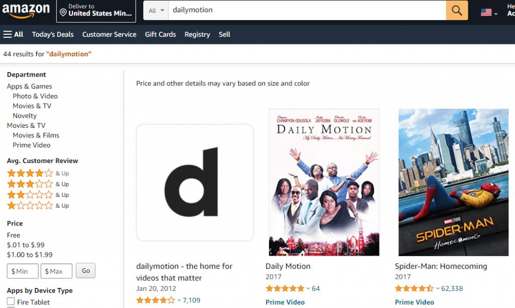 select Dailymotion on Amazon website