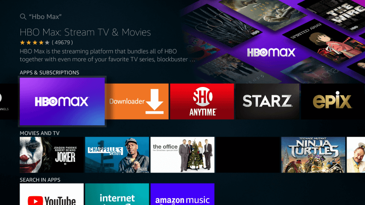 select HBO Max app