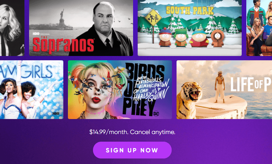 sign up for HBO Max