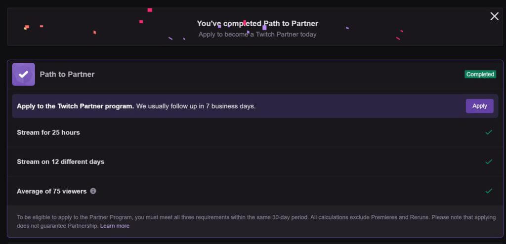 select Apply to get verified on Twitch