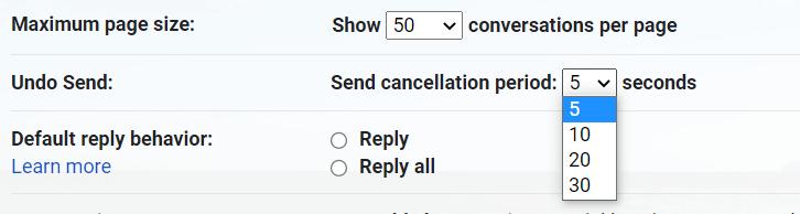 Set Time to Undo Send Message