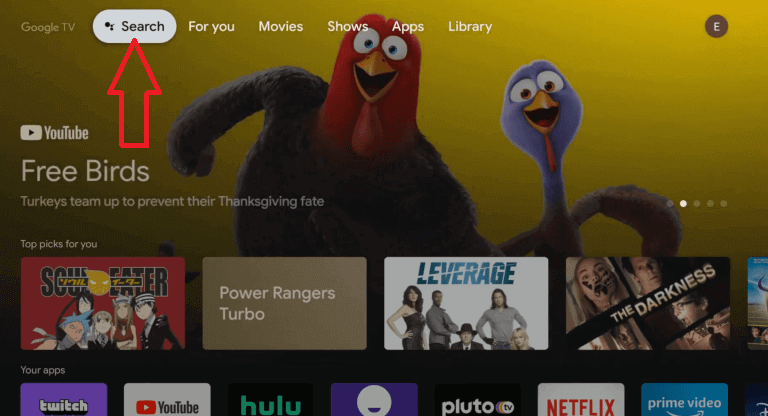 tap search on google tv store