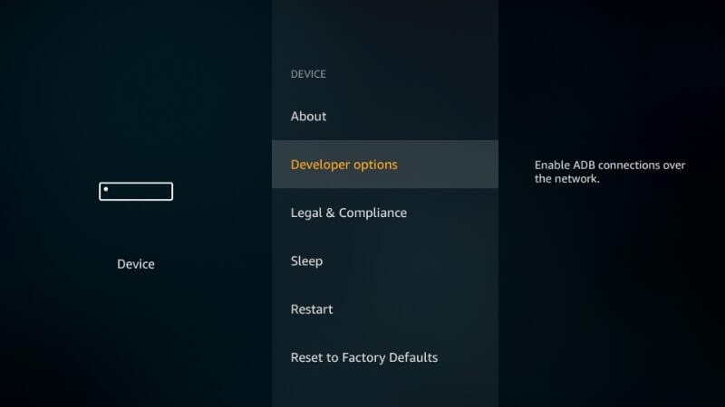 Movie Box on Firestick- click Developer option